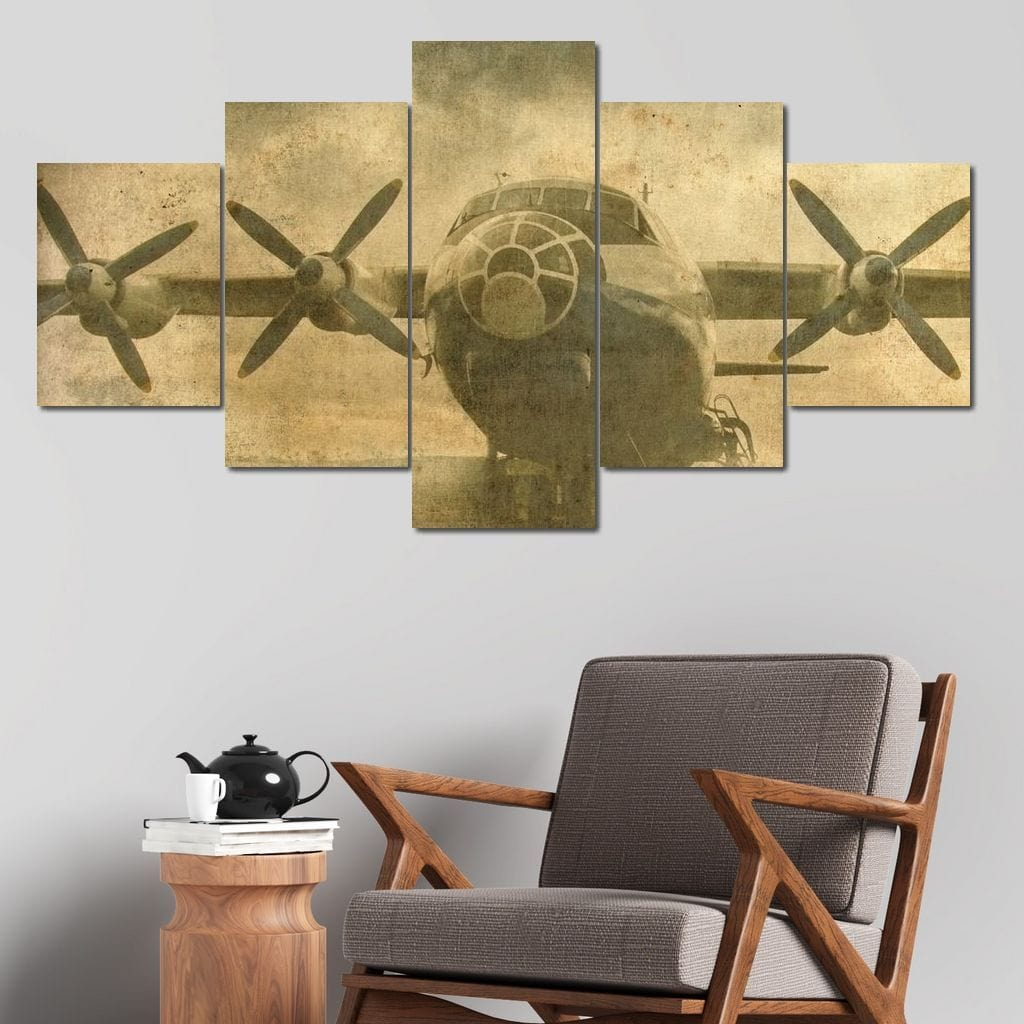 Old Aviation Postcard Multi Panel Canvas Wall Art - NicheCanvas