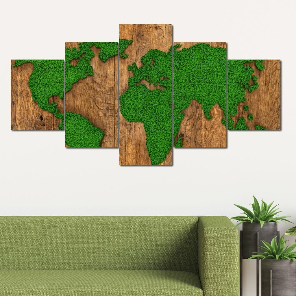 World Map - Grass Field Multi Panel Canvas Wall Art - NicheCanvas