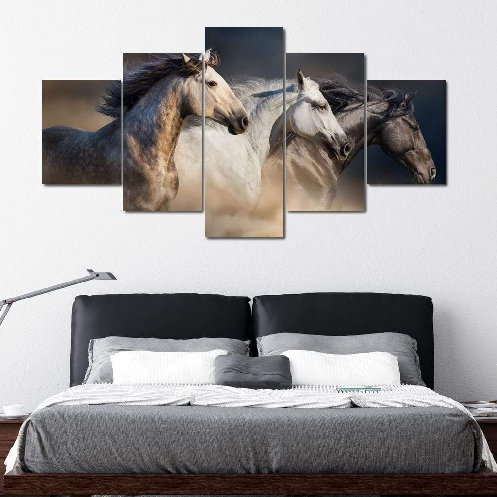 Running Horses Multi Panel Canvas Wall Art - NicheCanvas