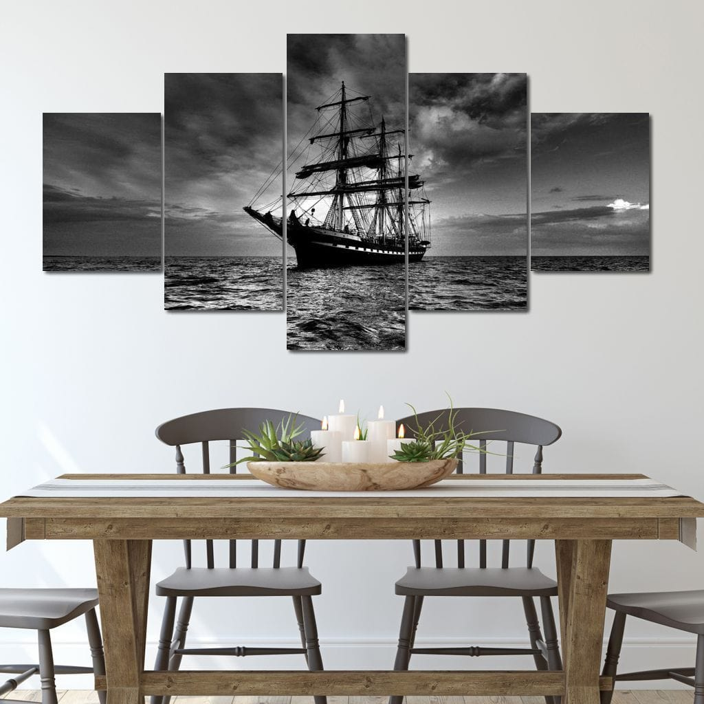 Tall Sail Ship Multi Panel Canvas Wall Art - NicheCanvas