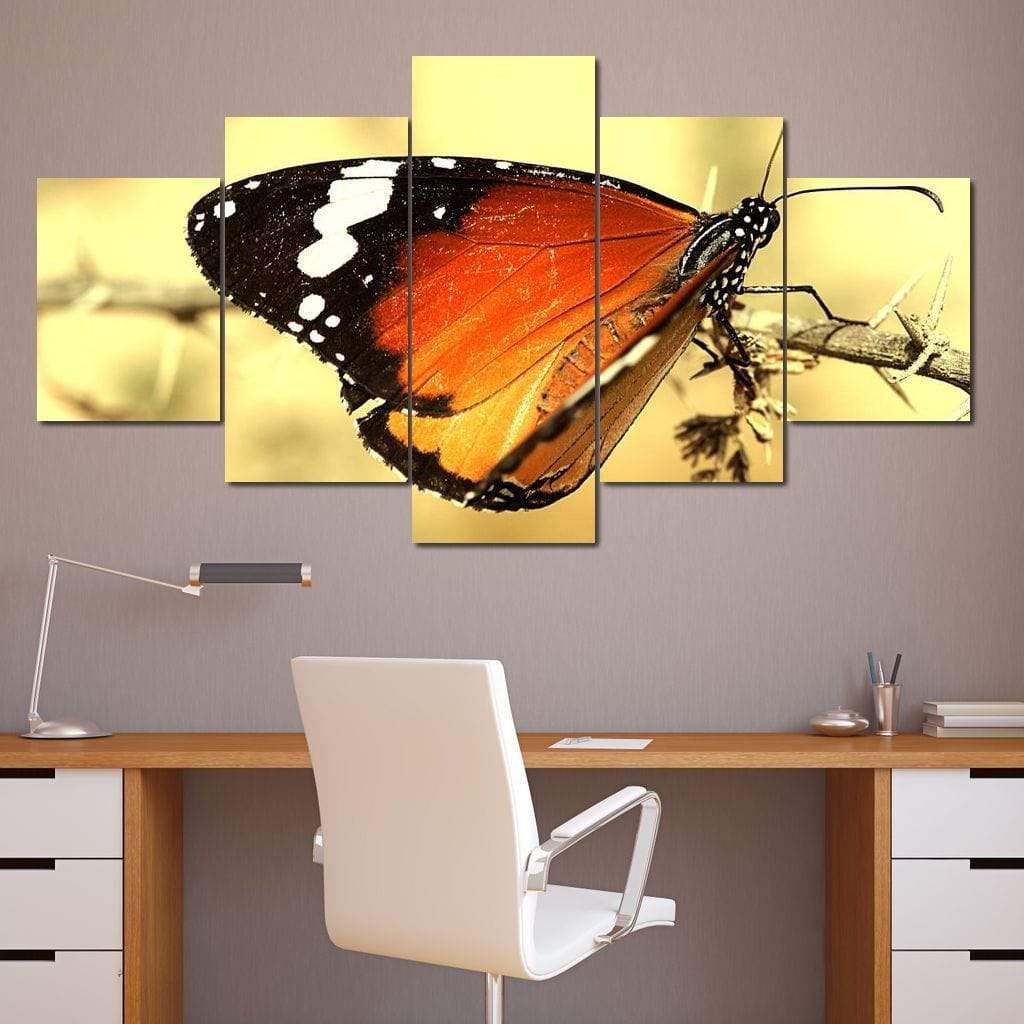 Orange Butterfly Multi Panel Canvas Wall Art - NicheCanvas