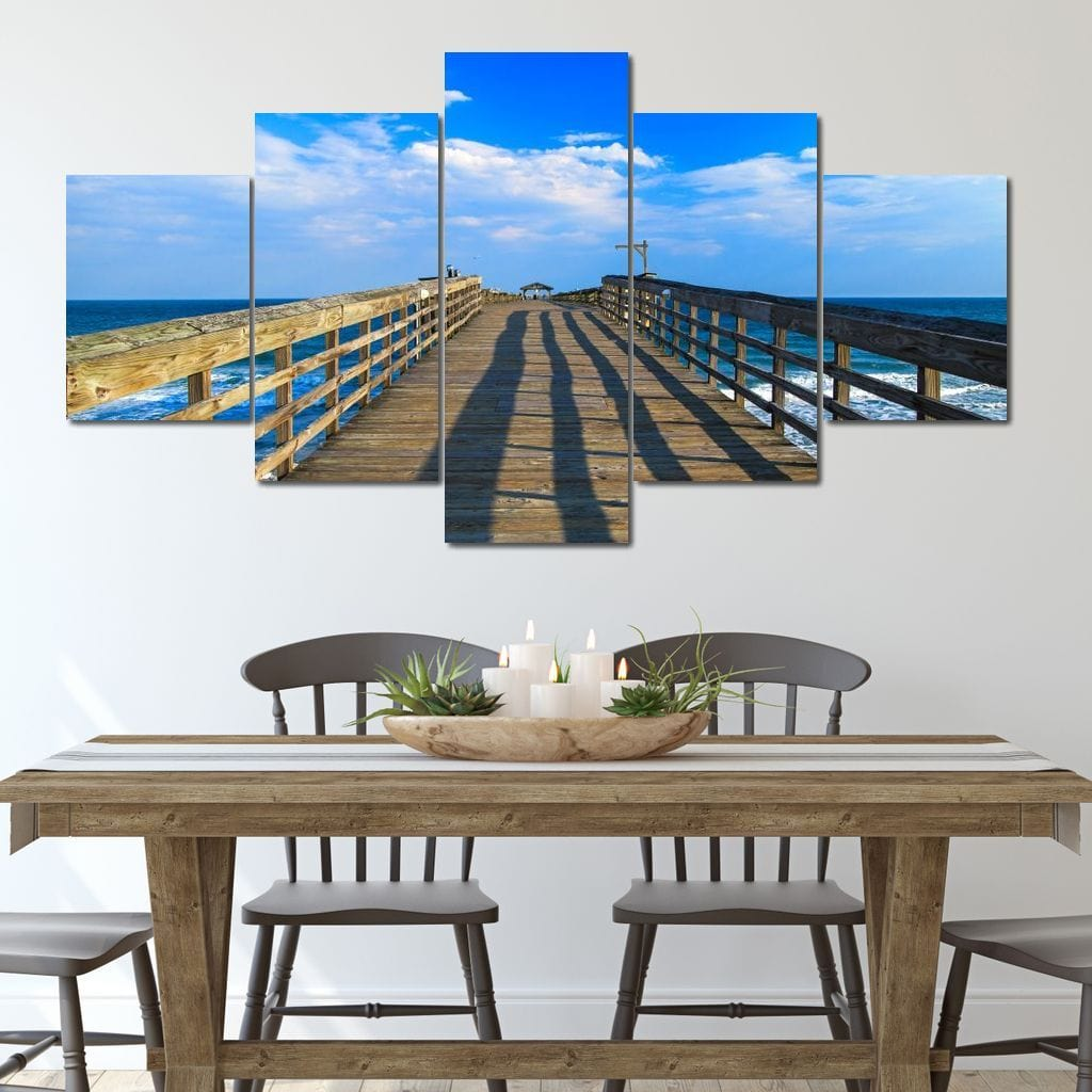 Myrtle Beach Pier Multi Panel Canvas Wall Art - NicheCanvas