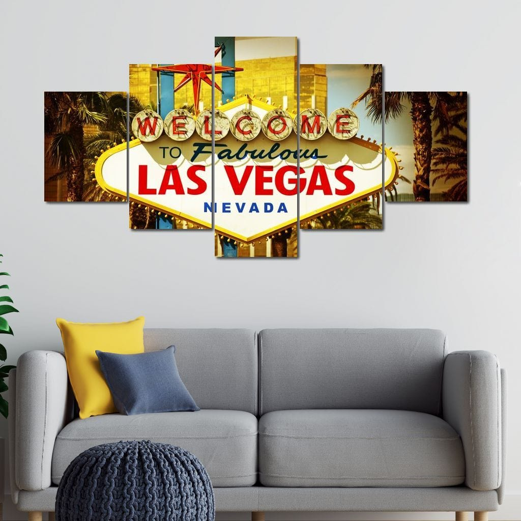 Welcome To Fabulous Las Vegas Multi Panel Canvas Wall Art - NicheCanvas