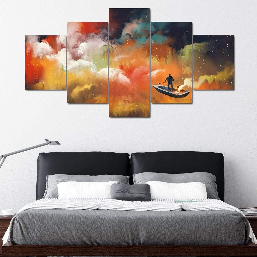 Space Boat Multi Panel Canvas Wall Art - NicheCanvas