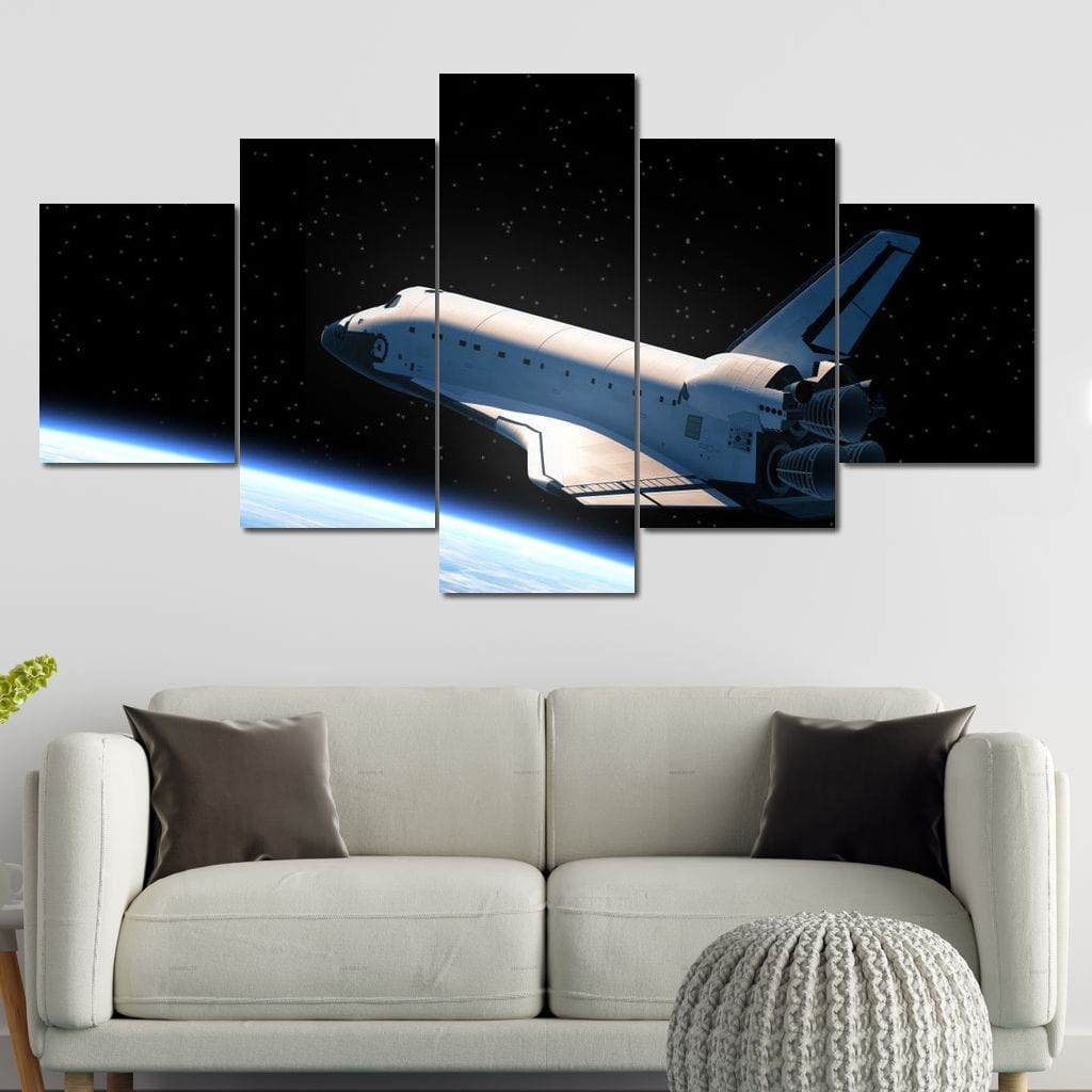 Space Shuttle Orbiting Earth Multi Panel Canvas Wall Art - NicheCanvas
