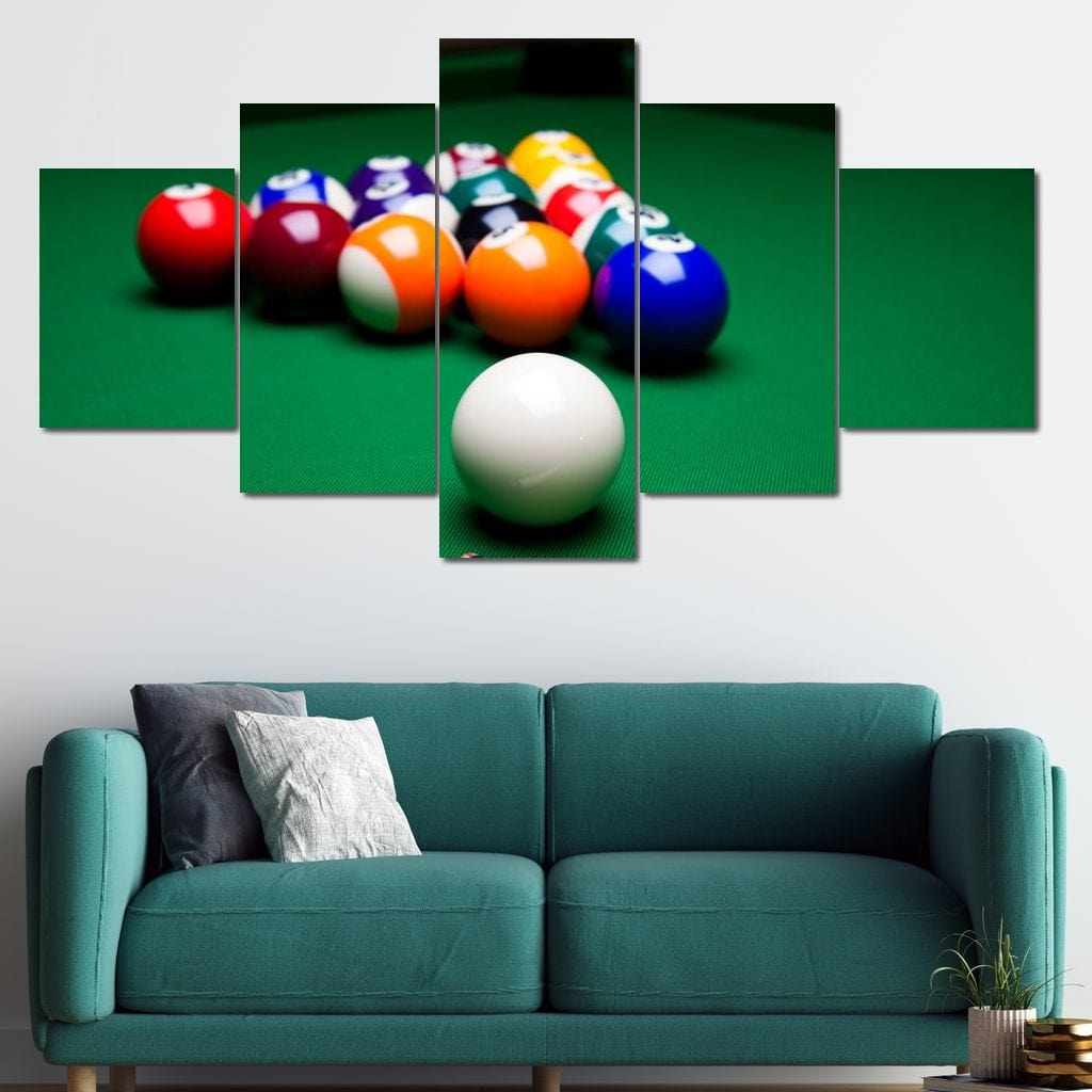 Billiard Game Multi Panel Canvas Wall Art - NicheCanvas