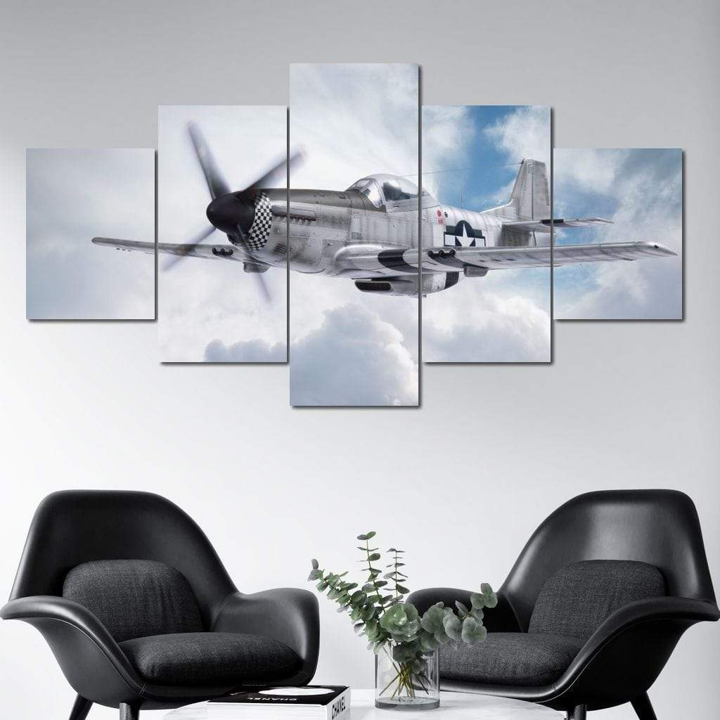 P-51 Mustang Multi Panel Canvas Wall Art - NicheCanvas