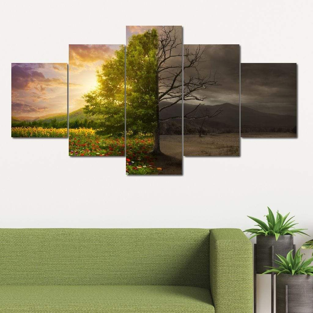 Life and Death Tree Multi Panel Canvas Wall Art - NicheCanvas