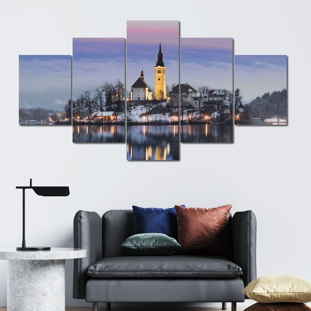 Church On The Lake Multi Panel Canvas Wall Art - NicheCanvas