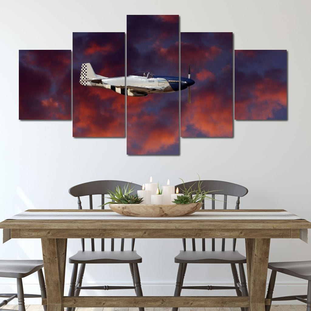 P51 Mustang at Night Multi Panel Canvas Wall Art - NicheCanvas
