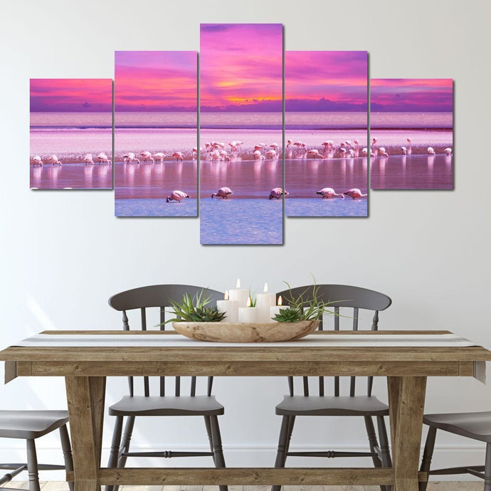 Flamingo Flock Multi Panel Canvas Wall Art - NicheCanvas