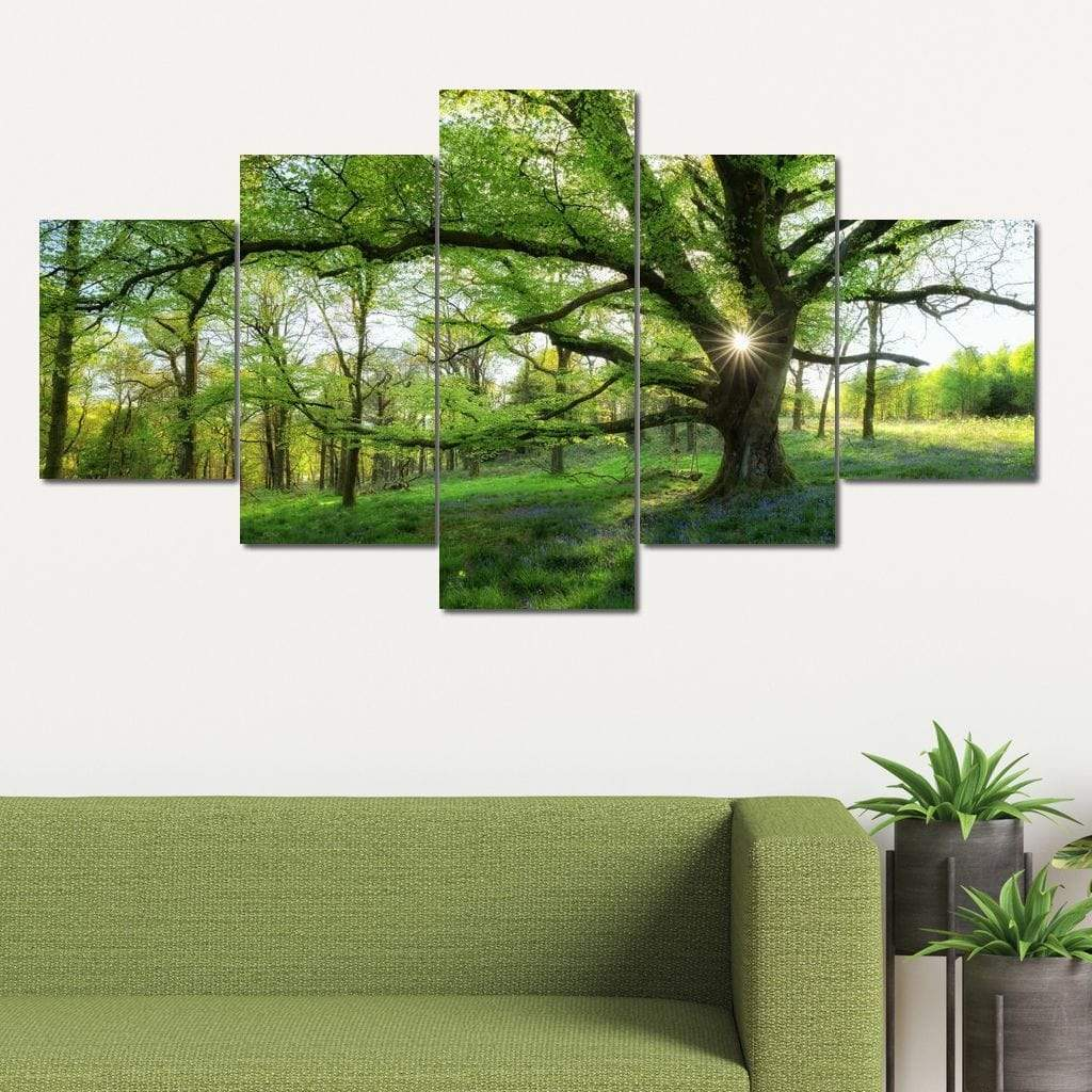 Master Tree Forest 5 panel wall art canvas