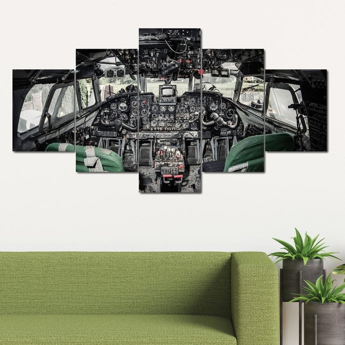 Airplane Cockpit Multi Panel Canvas Wall Art - NicheCanvas