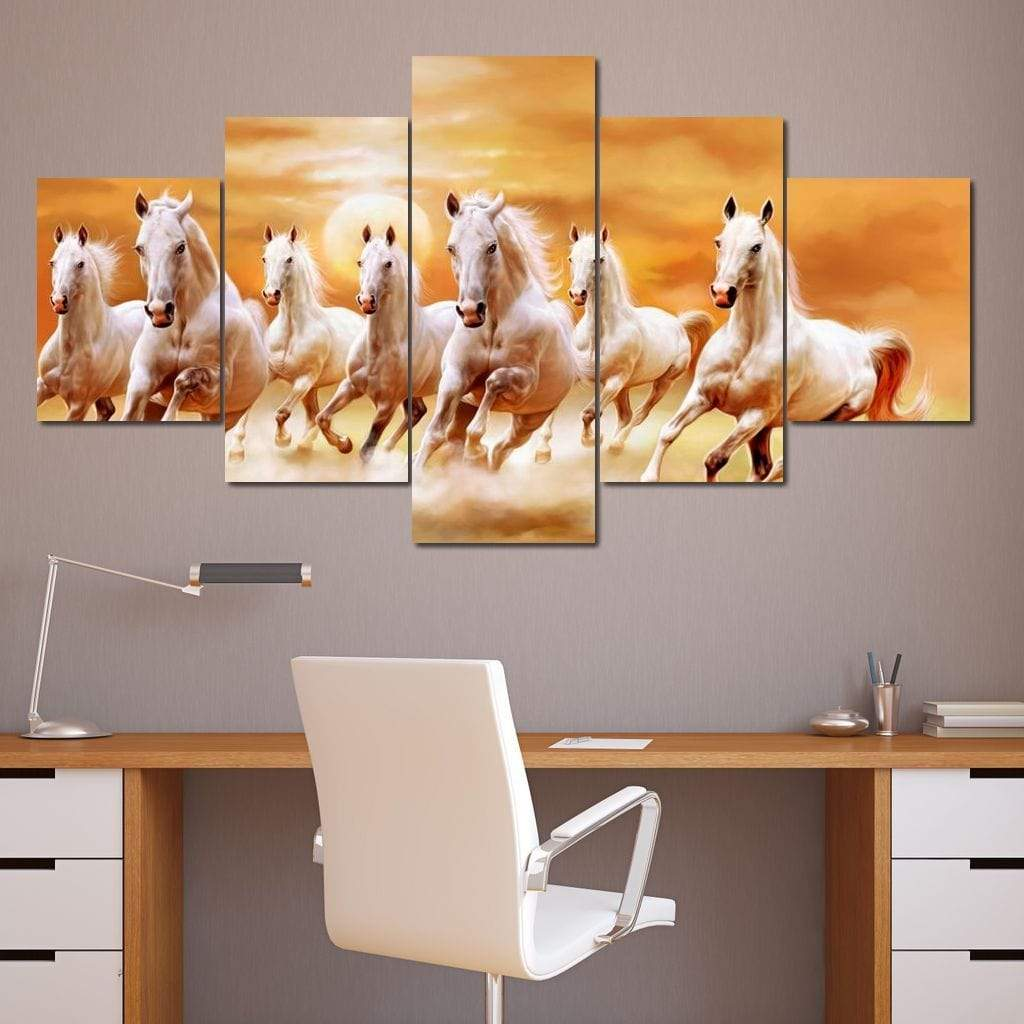 Seven Horses Multi Panel Canvas Wall Art - NicheCanvas