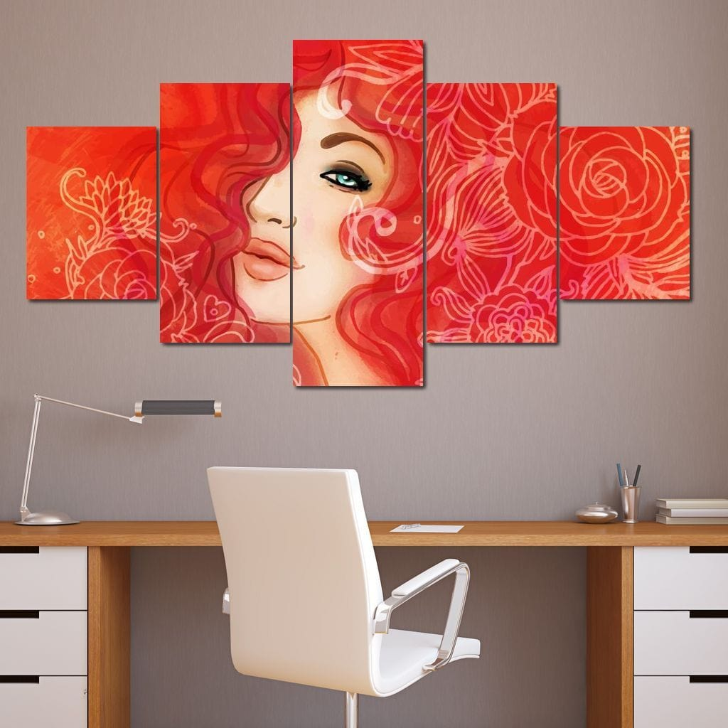 Red Haired Duchesse Multi Panel Canvas Wall Art - NicheCanvas