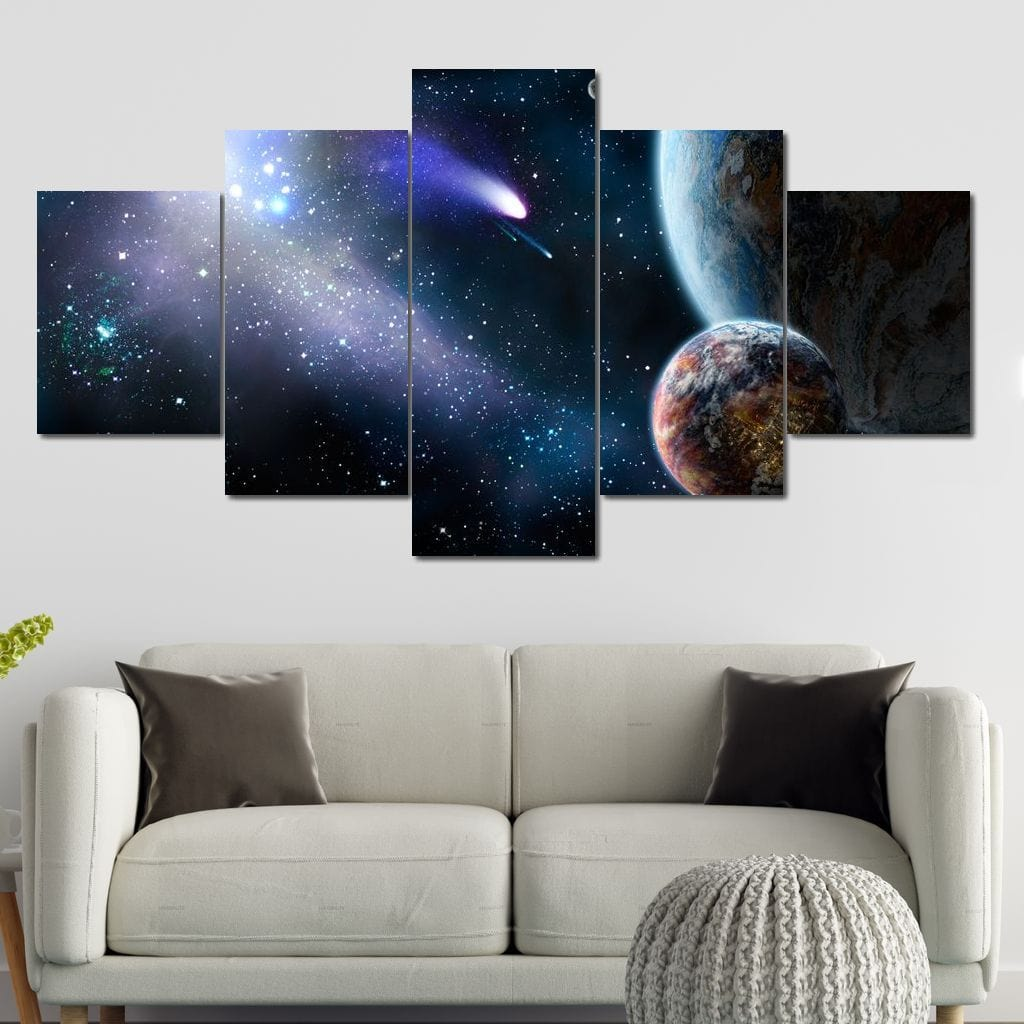Space Motion Multi Panel Canvas Wall Art - NicheCanvas