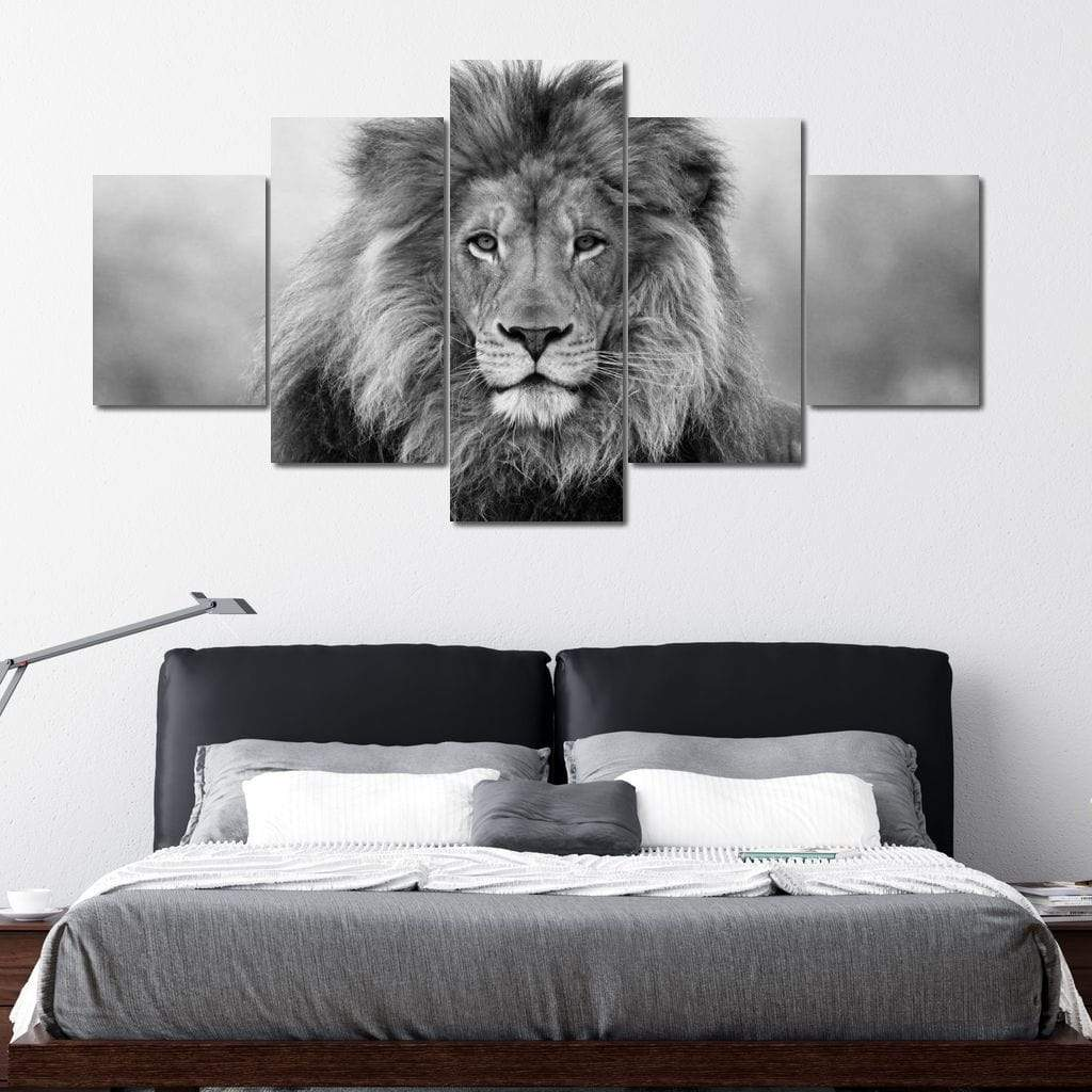 Black And White Lion Multi Panel Canvas Wall Art - NicheCanvas