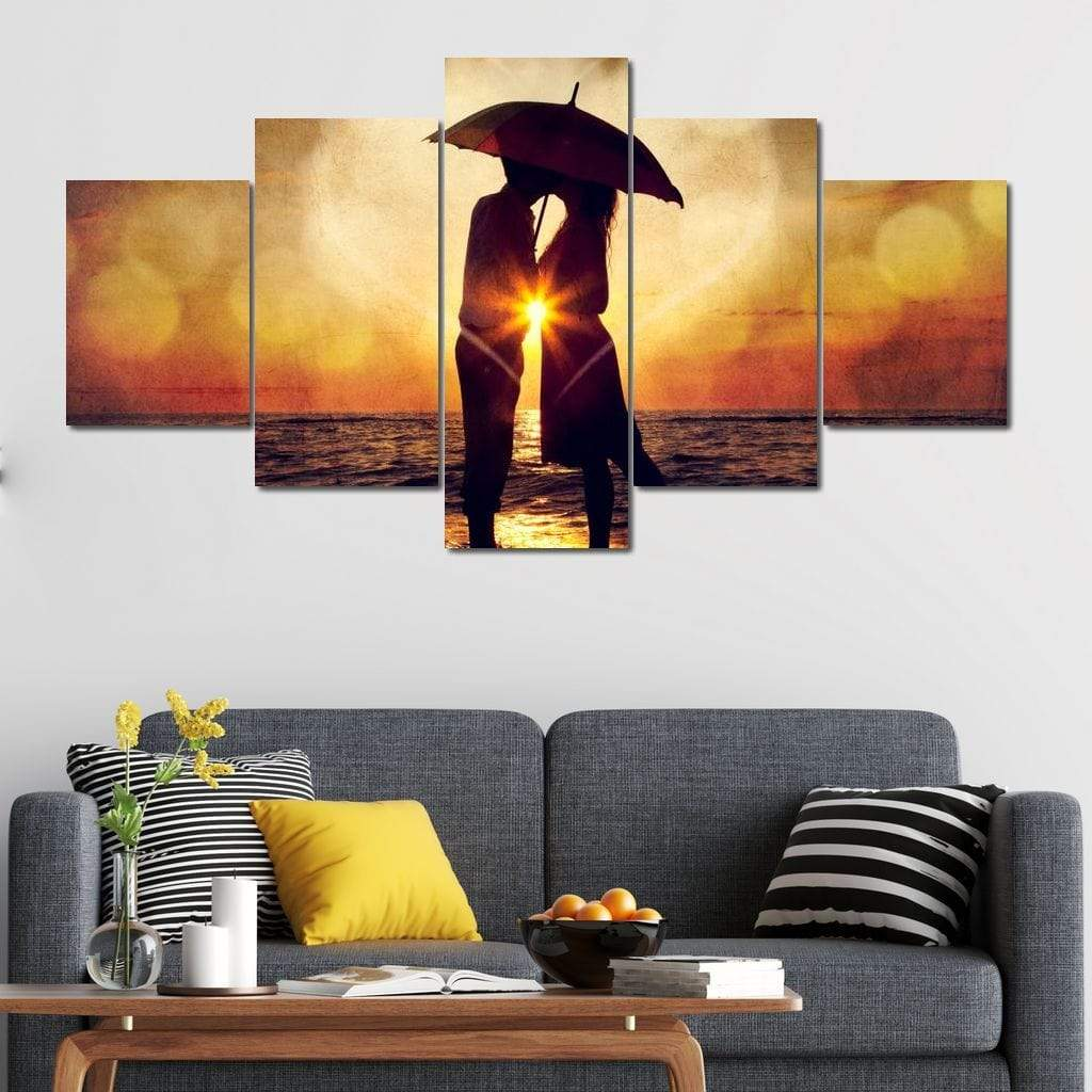 Couple Kissing Sunset Multi Panel Canvas Wall Art - NicheCanvas