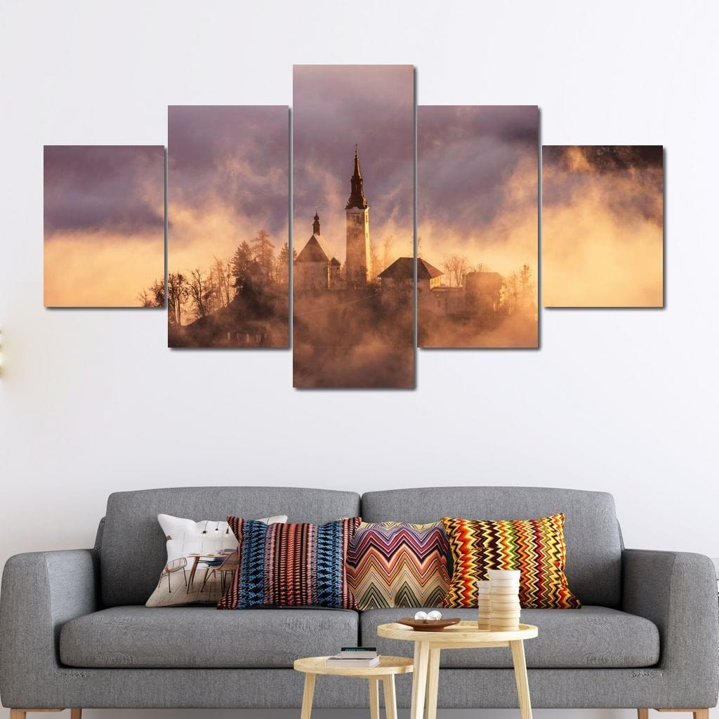Lake Bled Clouds Multi Panel Canvas Wall Art - NicheCanvas