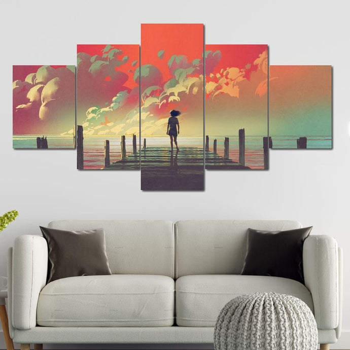 Wooden Pier Clouds Multi Panel Canvas Wall Art - NicheCanvas
