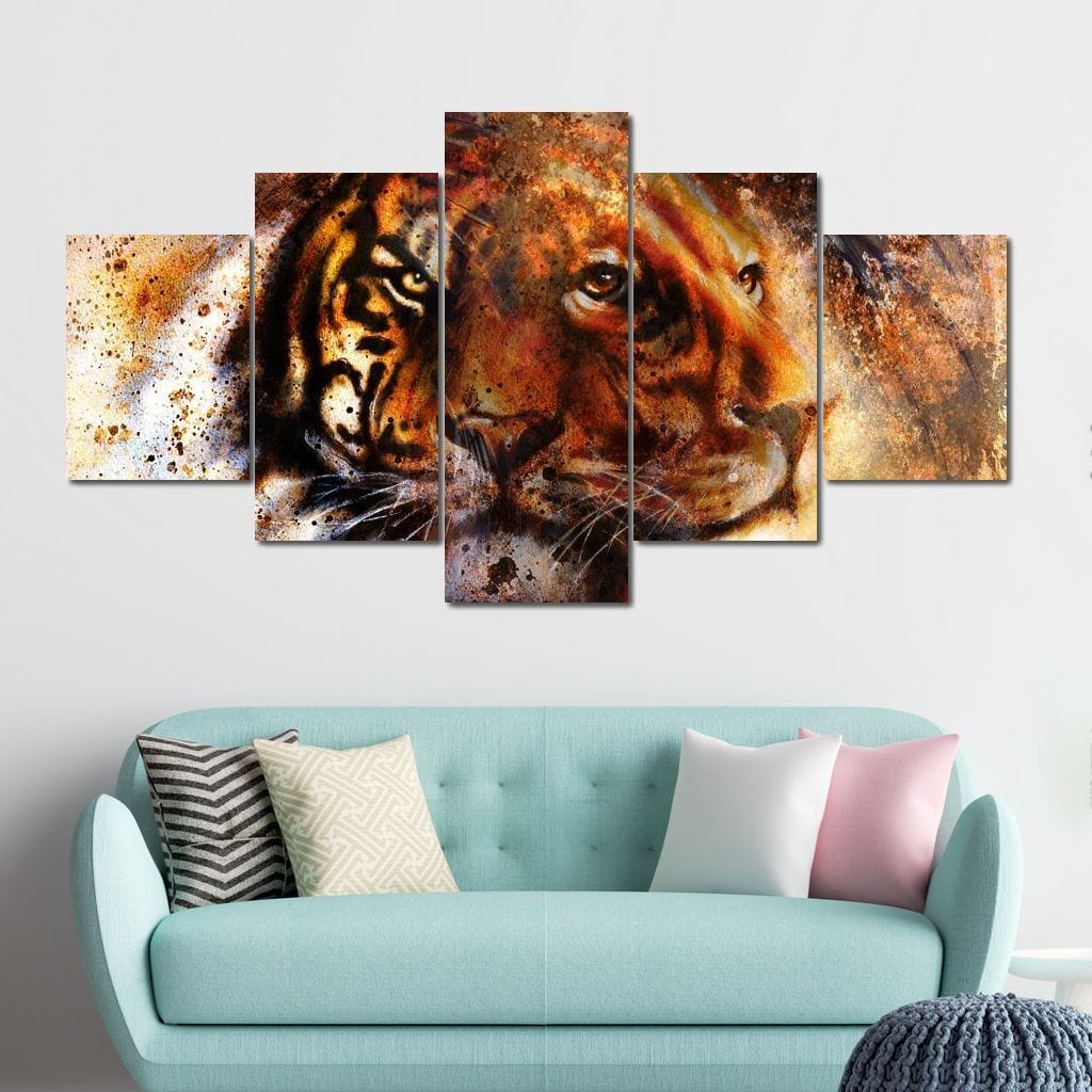 Tiger & Lion Multi Panel Canvas Wall Art - NicheCanvas