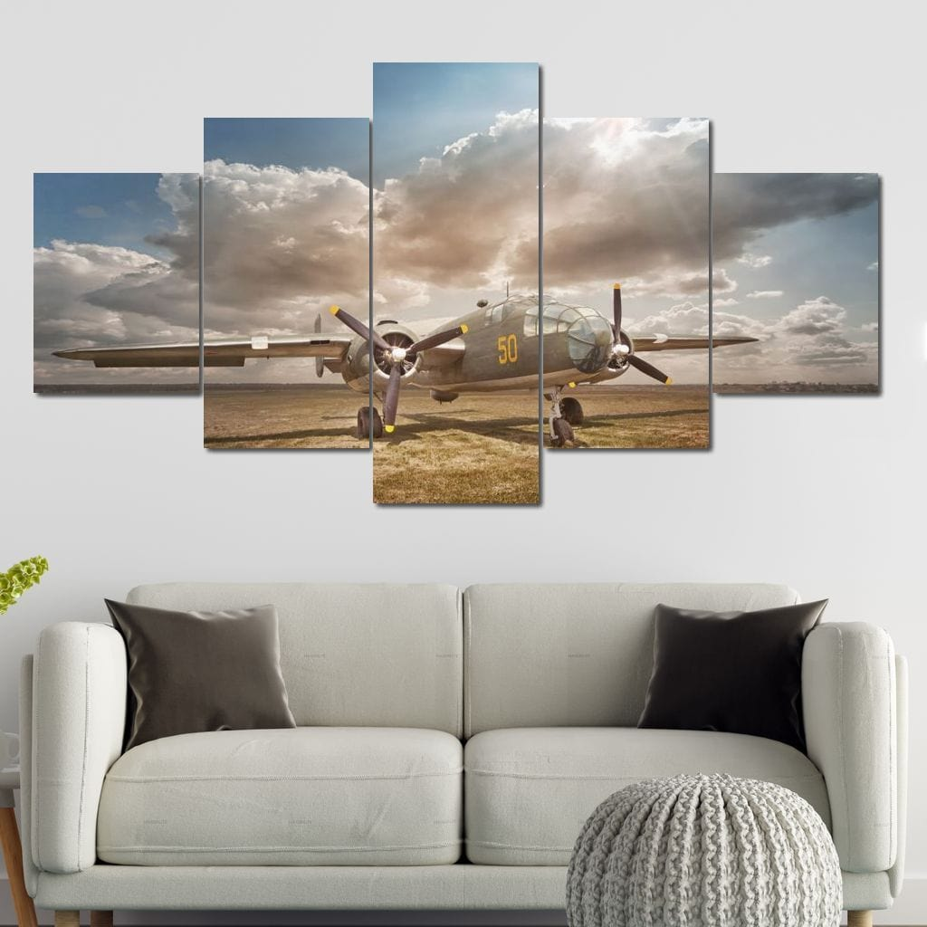 Vintage Bomber Multi Panel Canvas Wall Art - NicheCanvas