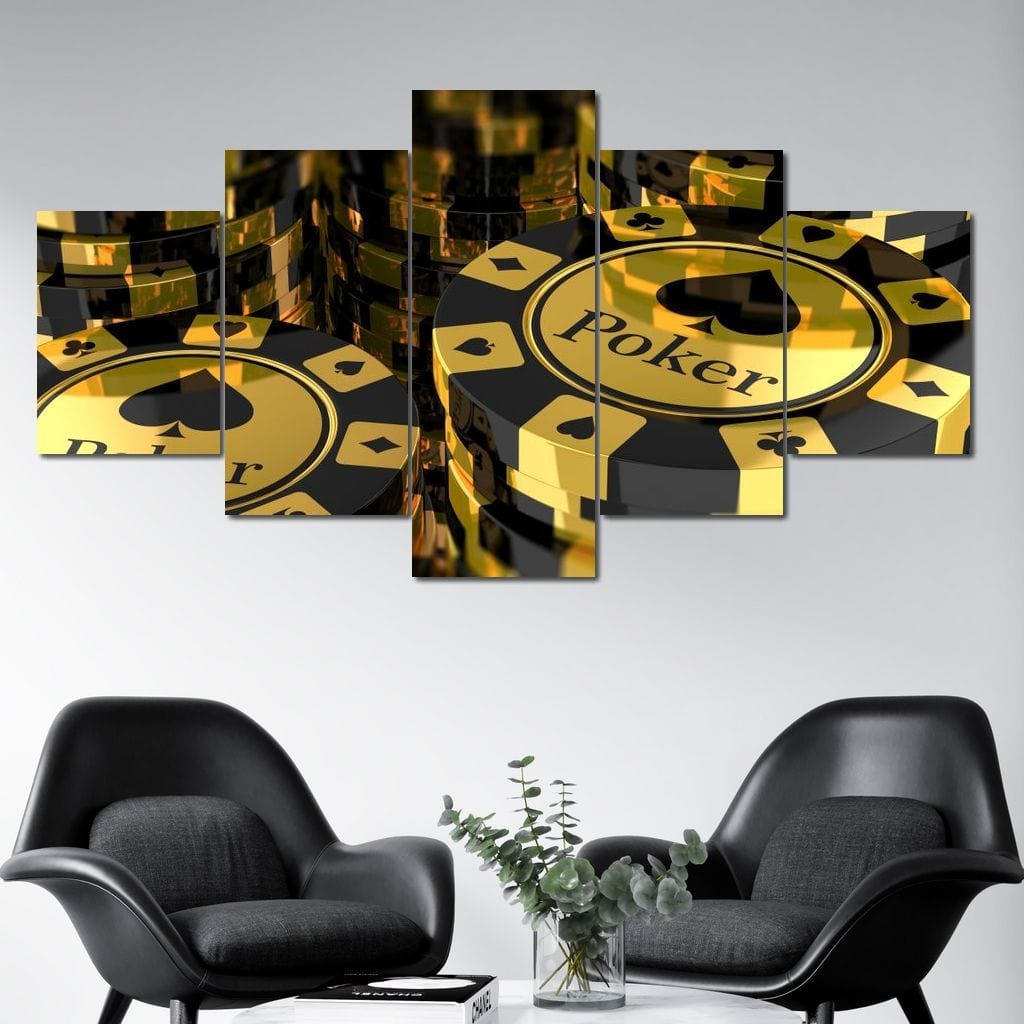 Poker Chips Multi Panel Canvas Wall Art - NicheCanvas