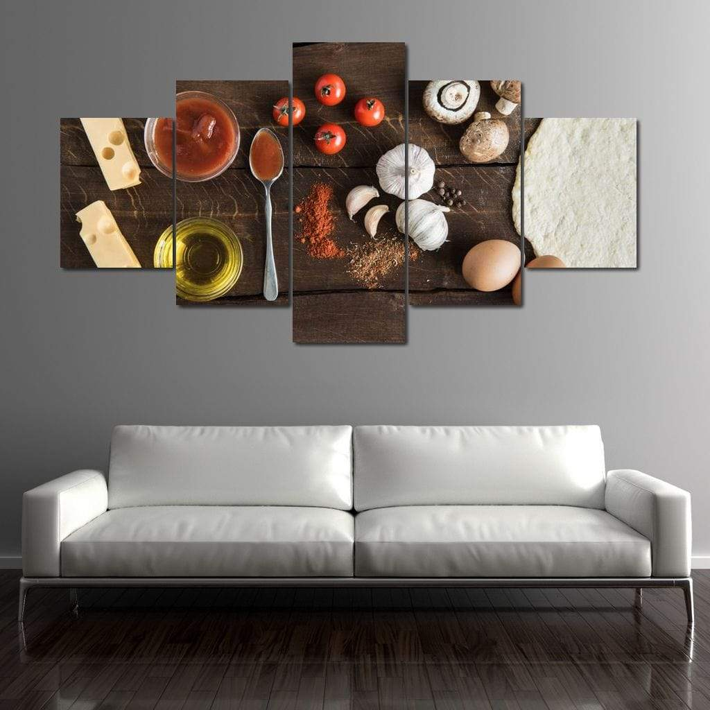 Pizza Ingredients Multi Panel Canvas Wall Art - NicheCanvas