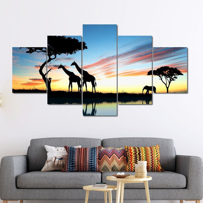 African Sunset Multi Panel Canvas Wall Art - NicheCanvas