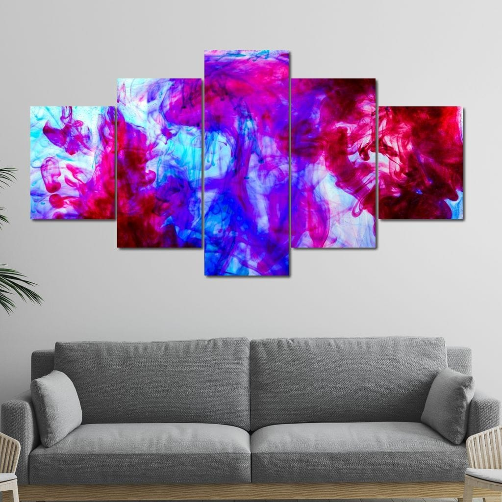 Red & Blue Ink In Water Multi Panel Canvas Wall Art - NicheCanvas