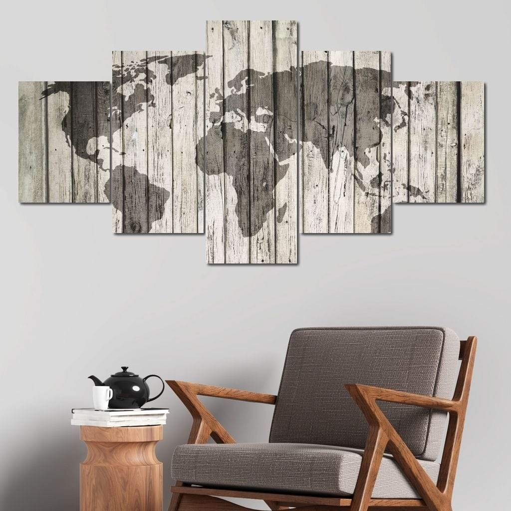World Map - Rustic Planks Multi Panel Canvas Wall Art - NicheCanvas