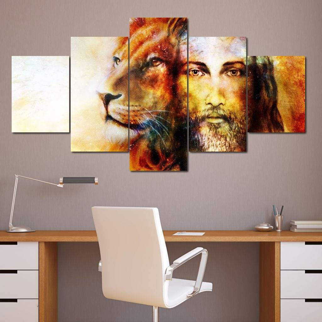 Jesus with a Lion Multi Panel Canvas Wall Art - NicheCanvas