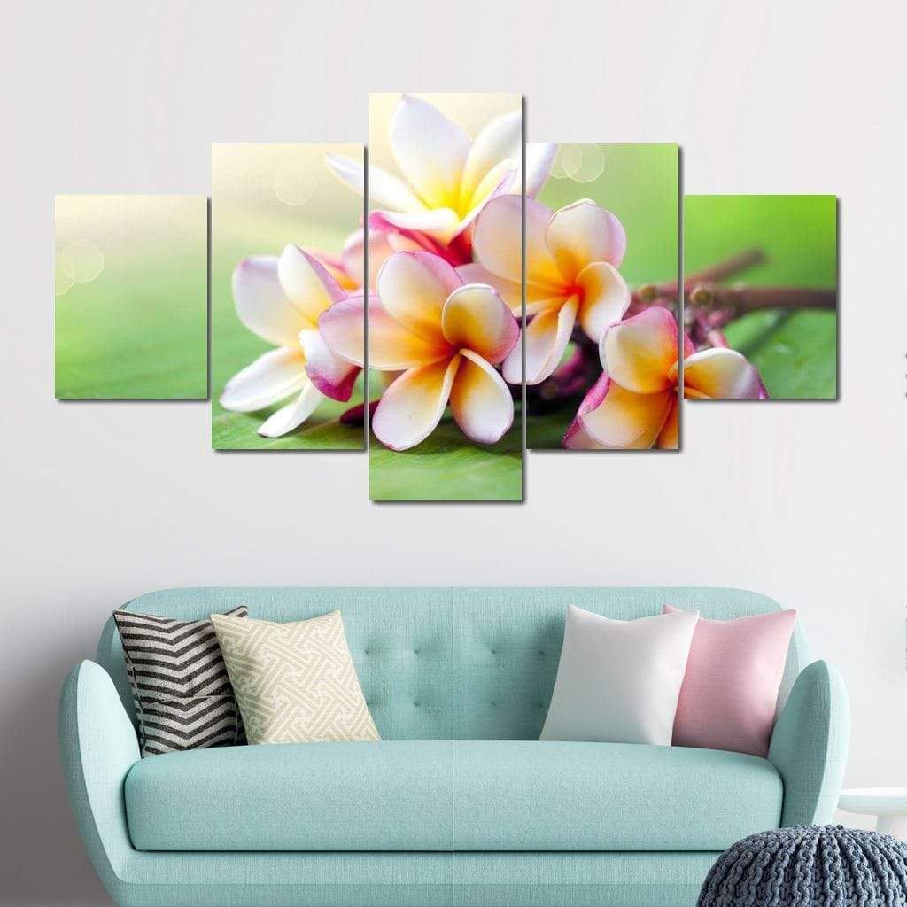 Tropical Spa Flower Multi Panel Canvas Wall Art - NicheCanvas
