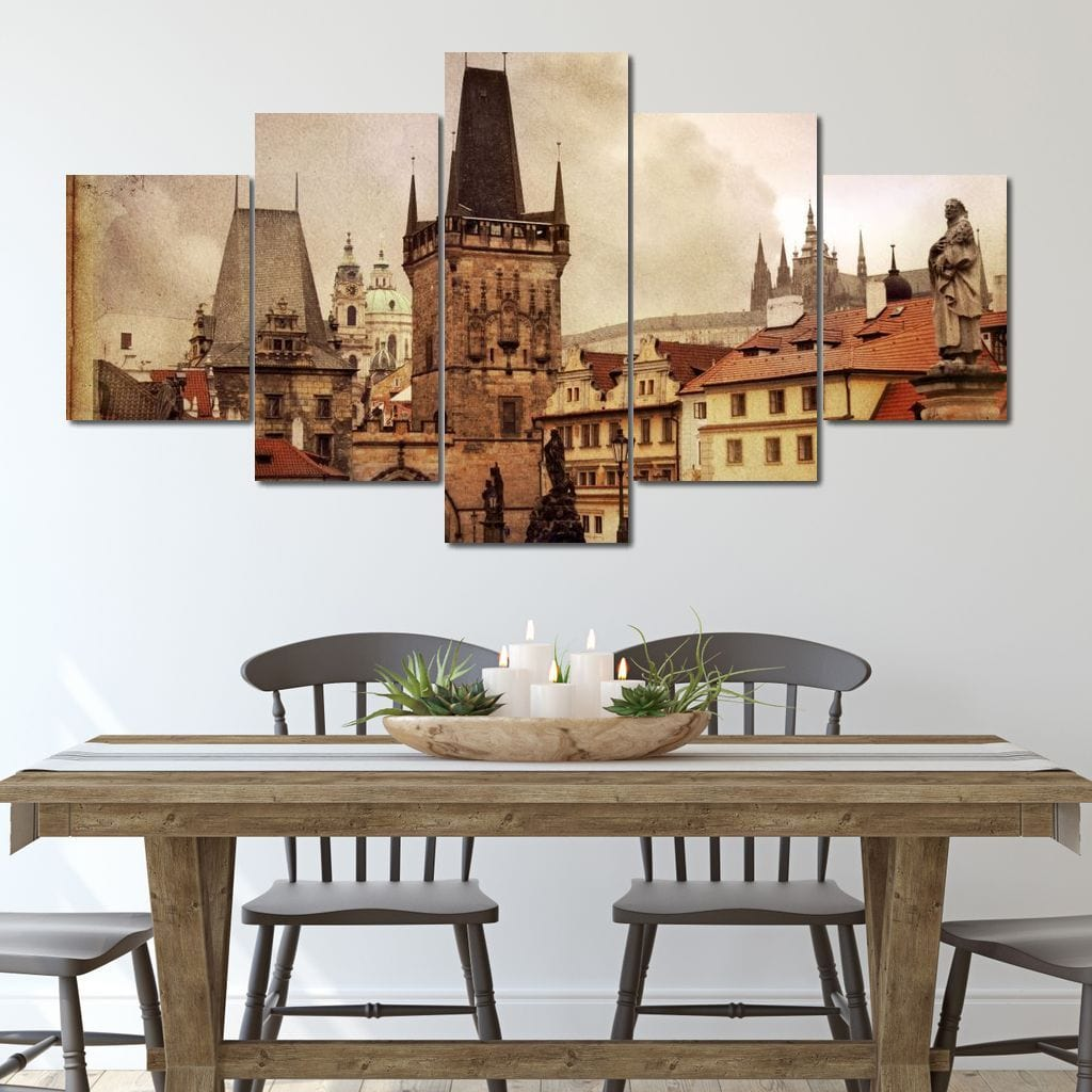 Old Prague Postcard Multi Panel Canvas Wall Art - NicheCanvas