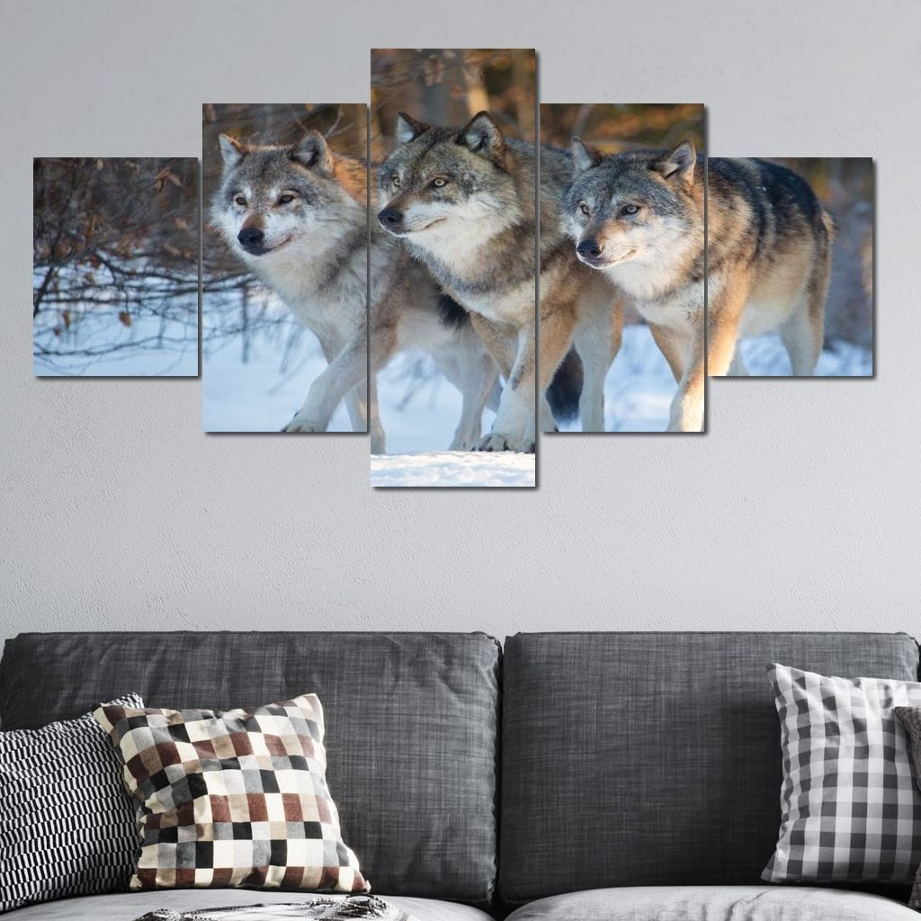 The Wolf Pack Multi Panel Canvas Wall Art - NicheCanvas