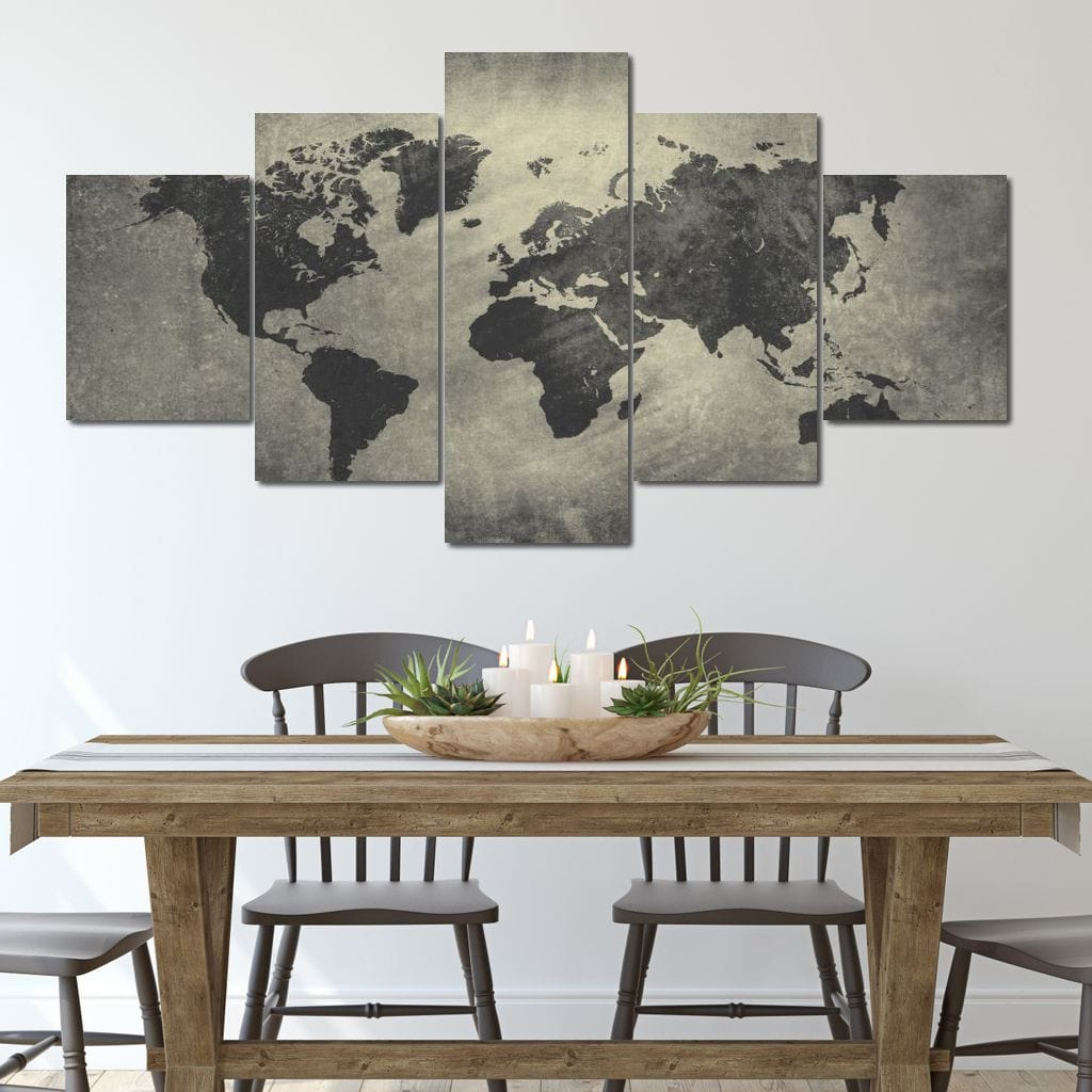 WORLD MAP - 5 PANELS SET NO PUSH NO EDIT - NicheCanvas