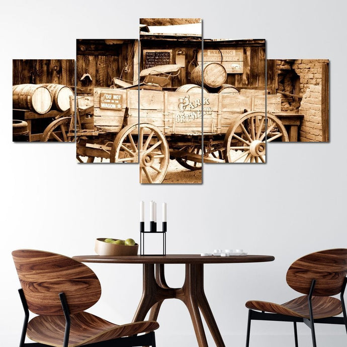 Antique American Cart Multi Panel Canvas Wall Art - NicheCanvas
