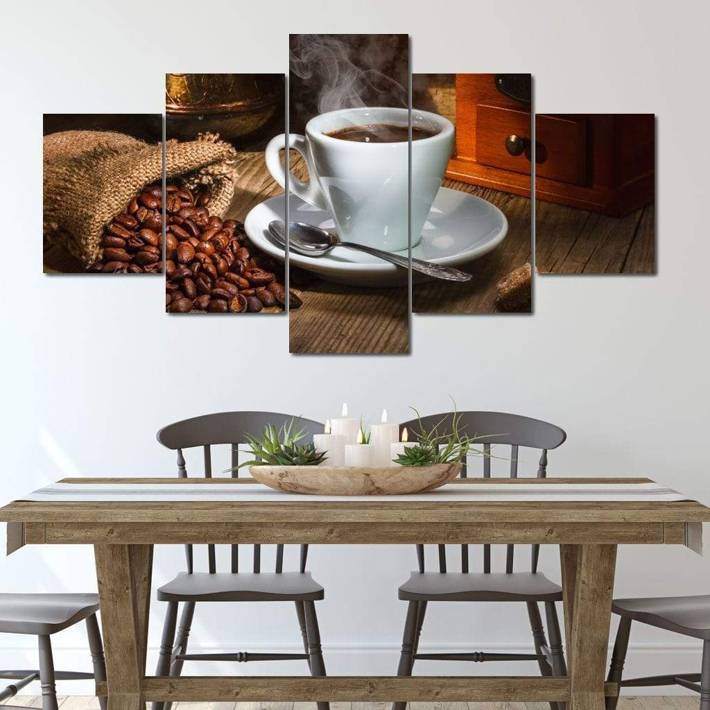 Rich Coffee Multi Panel Canvas Wall Art - NicheCanvas