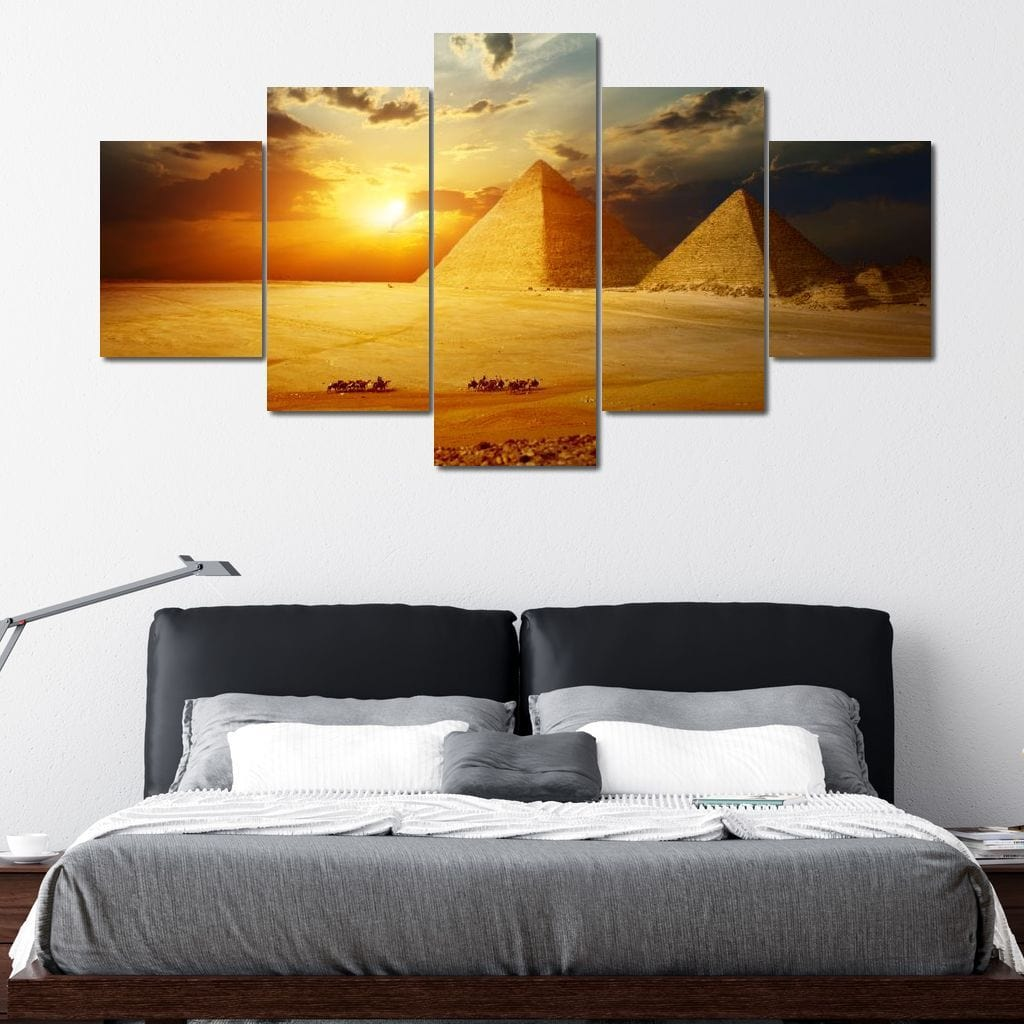 Egyptian Pyramids Caravan Multi Panel Canvas Wall Art - NicheCanvas