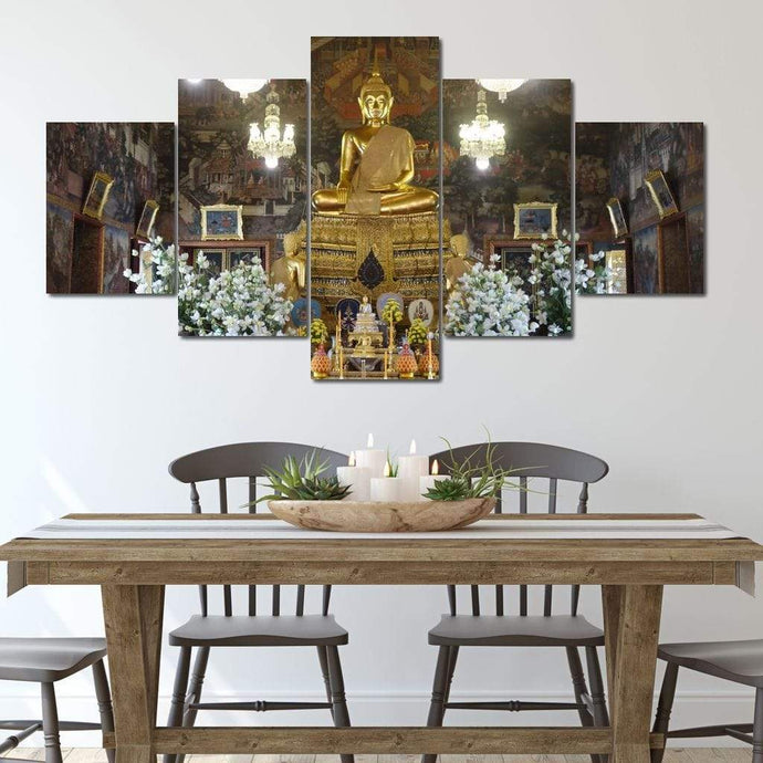 Wat Arun Temple Interior - Corinne Gravel Multi Panel Canvas Wall Art - NicheCanvas