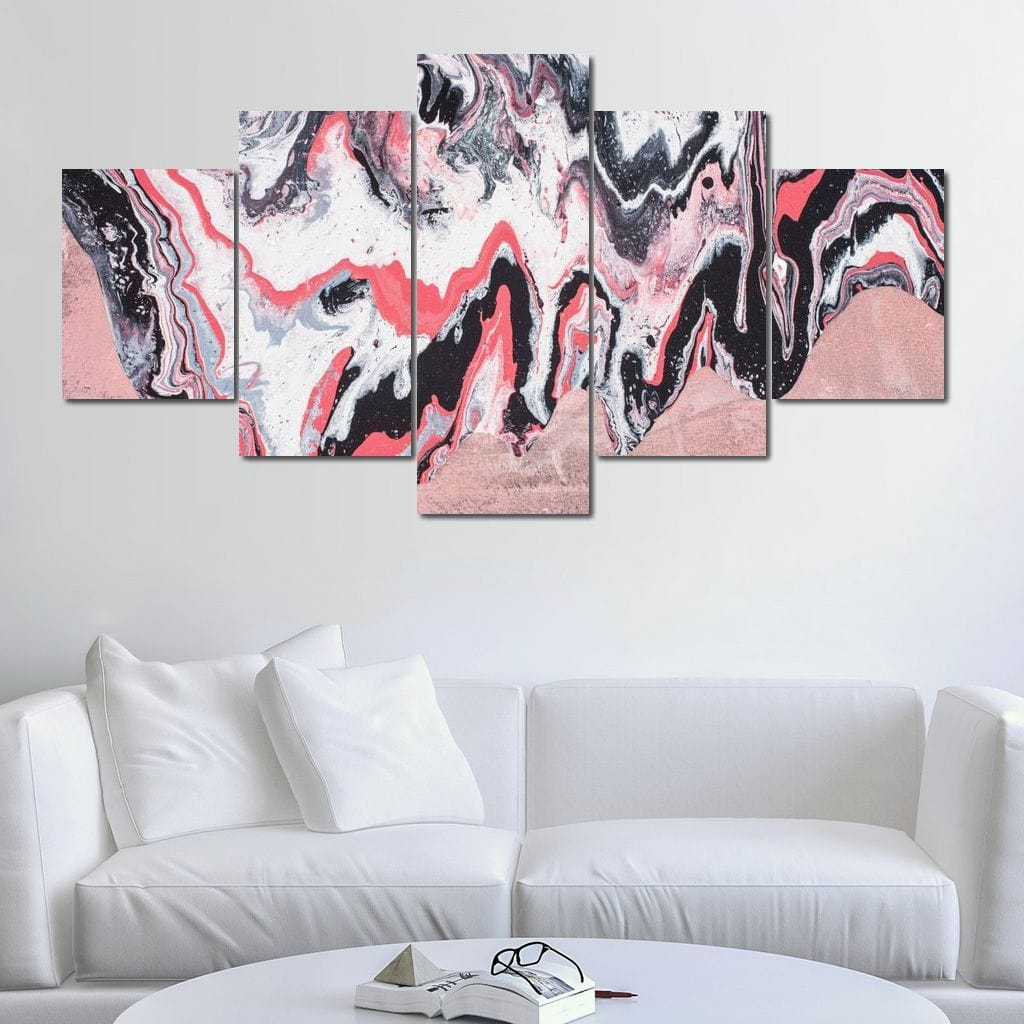 Pink Energy Multi Panel Canvas Wall Art - NicheCanvas