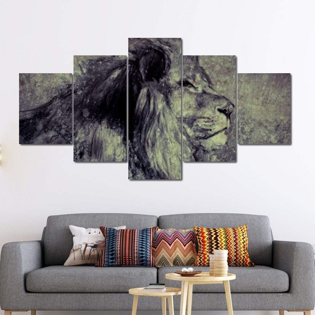 Lion Illustration Multi Panel Canvas Wall Art - NicheCanvas