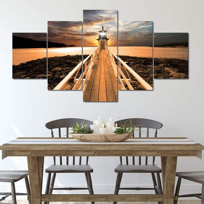 Marshall Point Lighthouse Multi Panel Canvas Wall Art - NicheCanvas