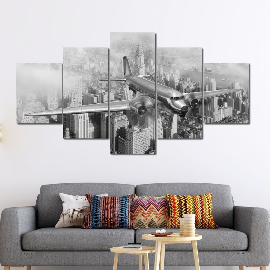 DC-3 Over New York Multi Panel Canvas Wall Art - NicheCanvas