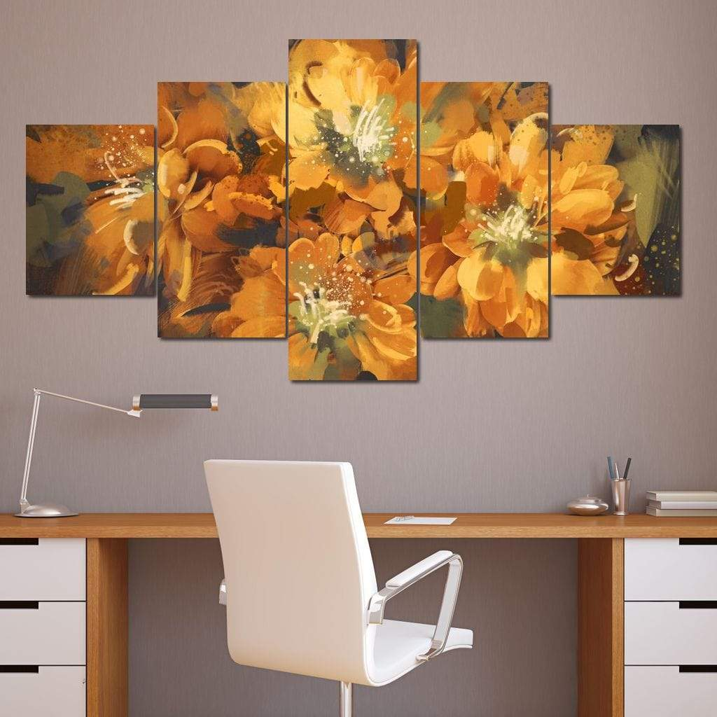 Four Orange Flowers Multi Panel Canvas Wall Art - NicheCanvas
