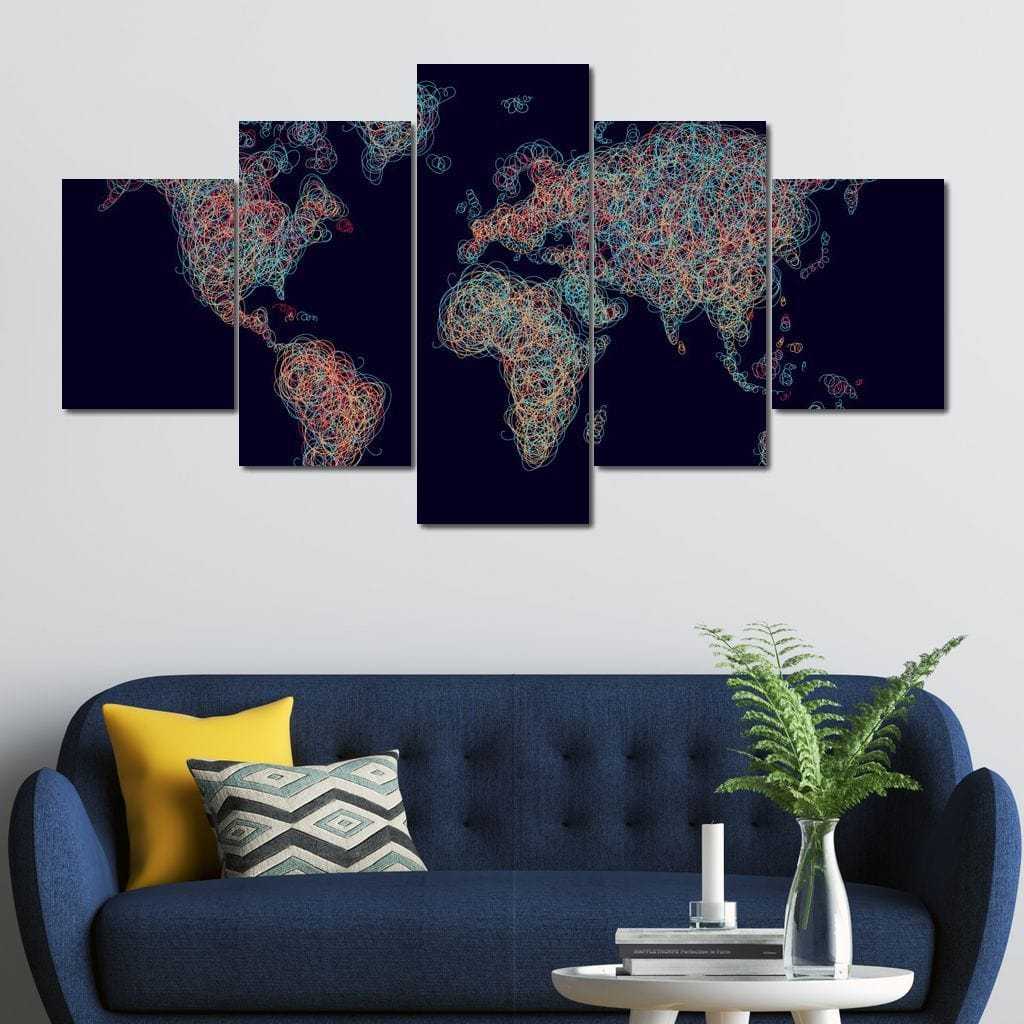 World Map - Circles Multi Panel Canvas Wall Art - NicheCanvas