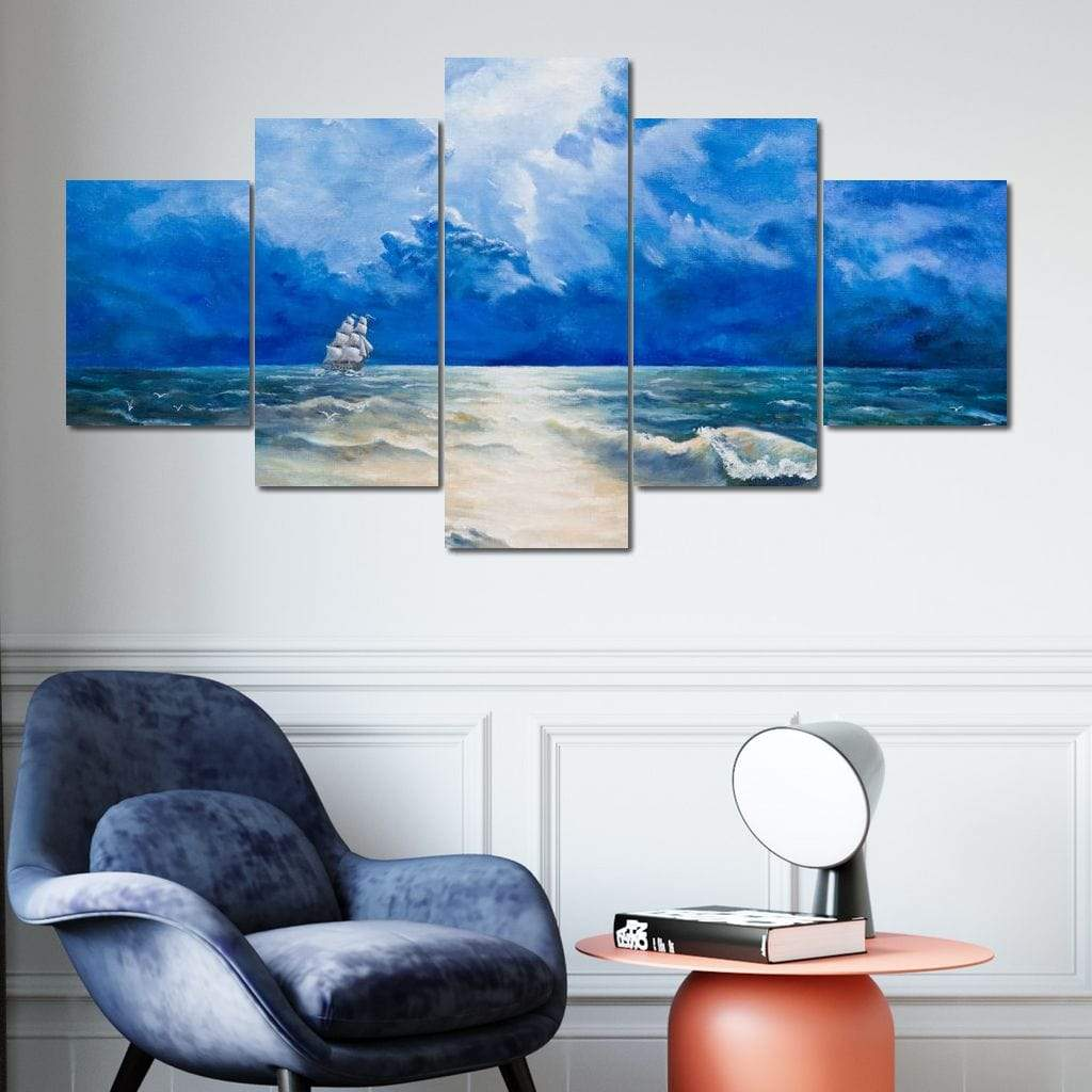 Sailing For Discovery Multi Panel Canvas Wall Art - NicheCanvas