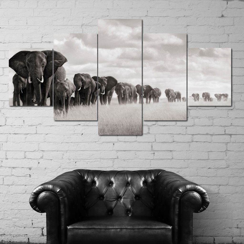 Elephants Walking - NicheCanvas