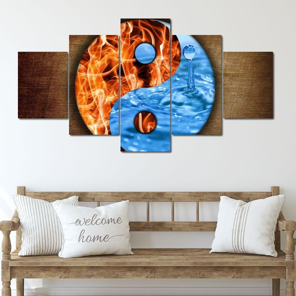 Water & Fire Yin & Yang Multi Panel Canvas Wall Art - NicheCanvas