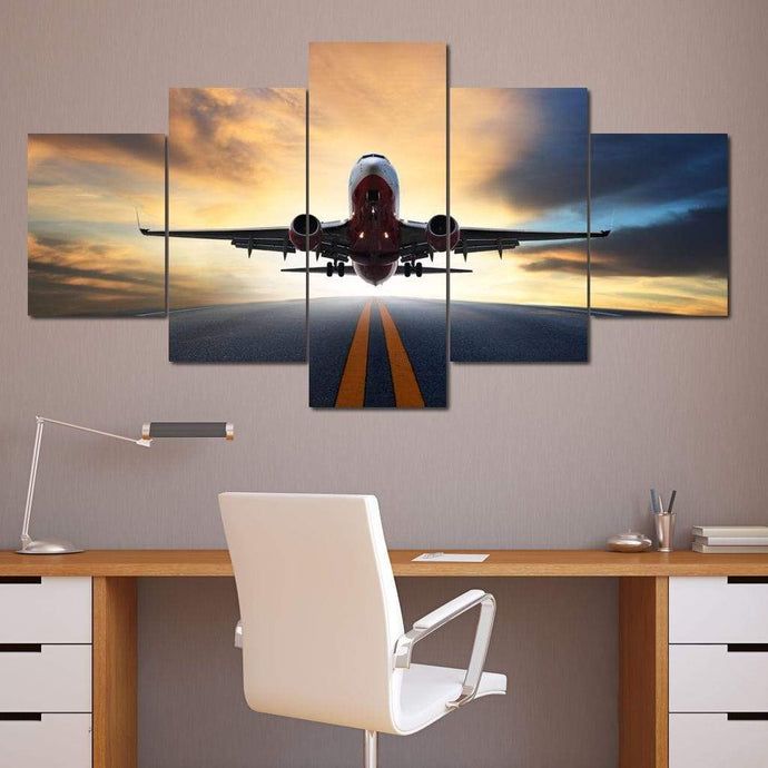 Airplane Take Off Multi Panel Canvas Wall Art - NicheCanvas